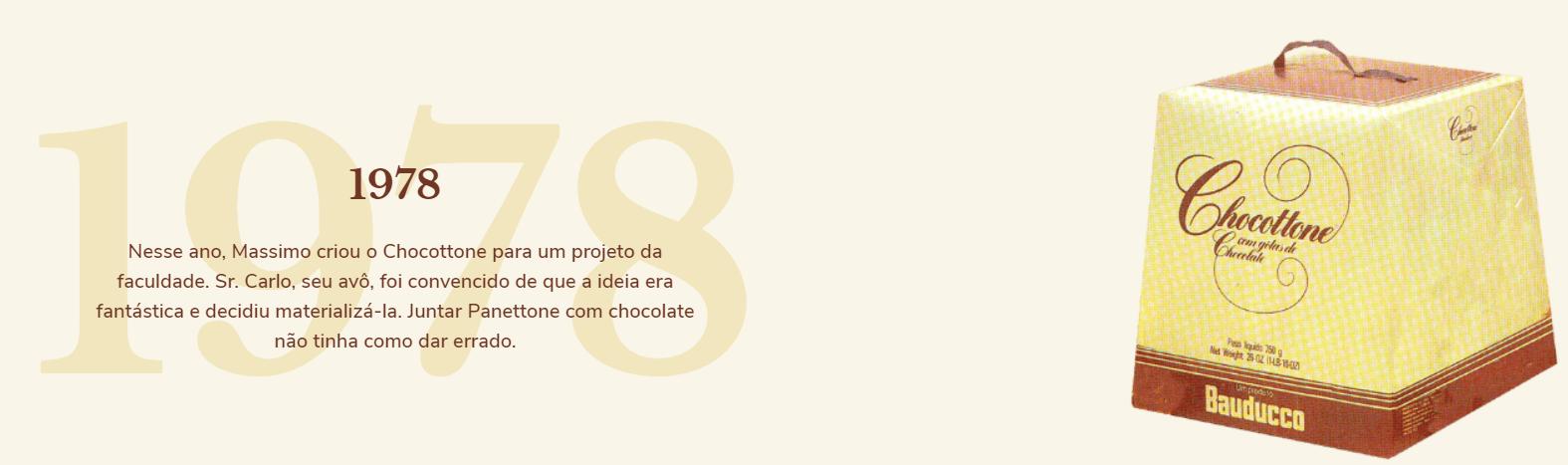 1978: Nesse ano, Massimo criou o Chocottone para um projeto da faculdade. Sr. Carlo, seu avô, foi convencido de que a ideia era fantástica e decidiu materializa-la. Juntar Panettone com chocolate não tinha como dar errado.