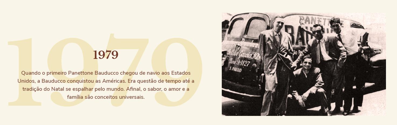 1979: Quando o primeiro Panettone Bauducco chegou de navio aos Estados Unidos, a Bauducco conquistou as Américas. Era questão de tempo até a tradição do Natal se espalhar pelo mundo. Afinal, o sabor, o amor e a família são conceitos universais.