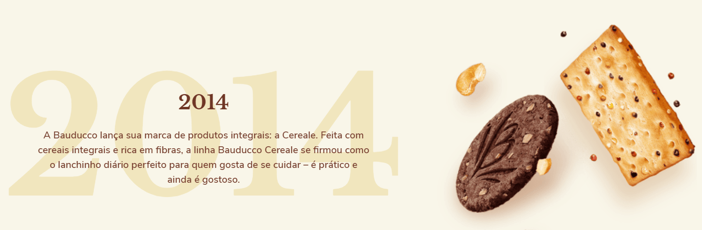 2014: A Bauducco lança sua marca de produtos integrais: a Cereale. Feita com cereais integrais rica em fibras, a linha Bauducco Cereale se firmou como o lanchinho diário perfeito para quem gosta de se cuidar - é prático e ainda gostoso.