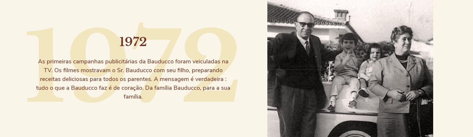 1972: As primeiras campanhas publicitárias da Bauducco foram veiculadas na TV. Os filmes mostravam o Sr. Bauducco com seu filho, preparando receitas deliciosas para todos os parentes. A mensagem é verdadeira: tudo que a Bauducco faz é de coração. Da família Bauducco, para a sua família.